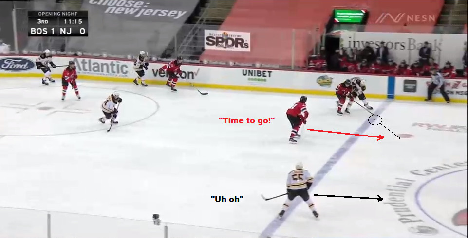 Part 8: Hughes forces the turnover and the puck moves slowly towards the dot.  Miles Wood knows its time to go.  Lauzon knows that too.
