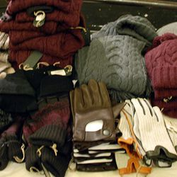 Men's sweaters, hats, driving gloves and scarves