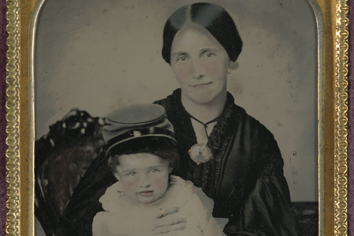 A Civil War era picture of a mother and her child.