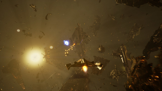 A space ship flies through an eerie-looking area filled with wreckage of other ships