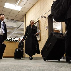 Missionaries arrive for their first day at the Provo Missionary Training Center of The Church of Jesus Christ of Latter-day Saints in Provo, Utah, Wednesday, Feb. 2, 2011.