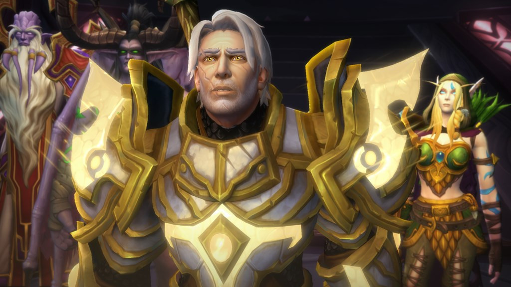The paladin Turyalon stands with Alleria Windrunner and the Prophet Velen.