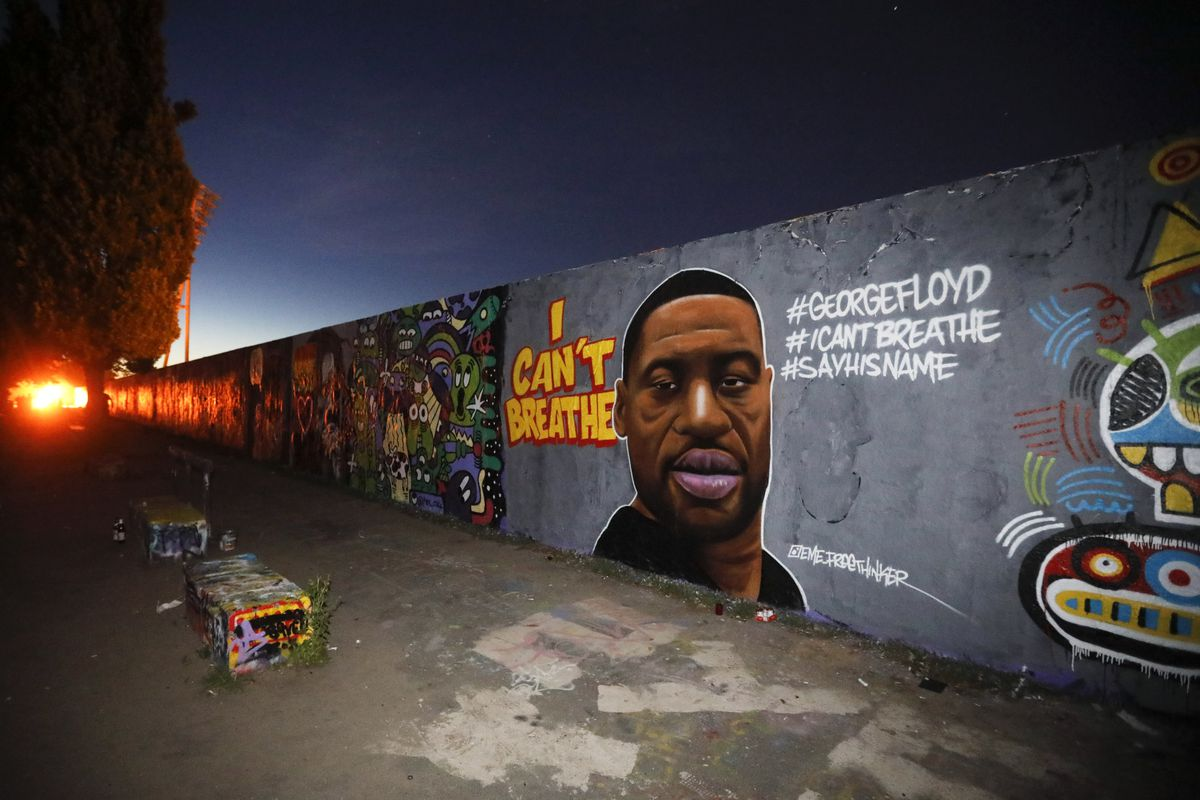 A painting honoring George Floyd has been painted on a wall in a park in Berlin, Germany. Floyd died after being restrained by a Minneapolis police officer — a knee to his neck — on Memorial Day.