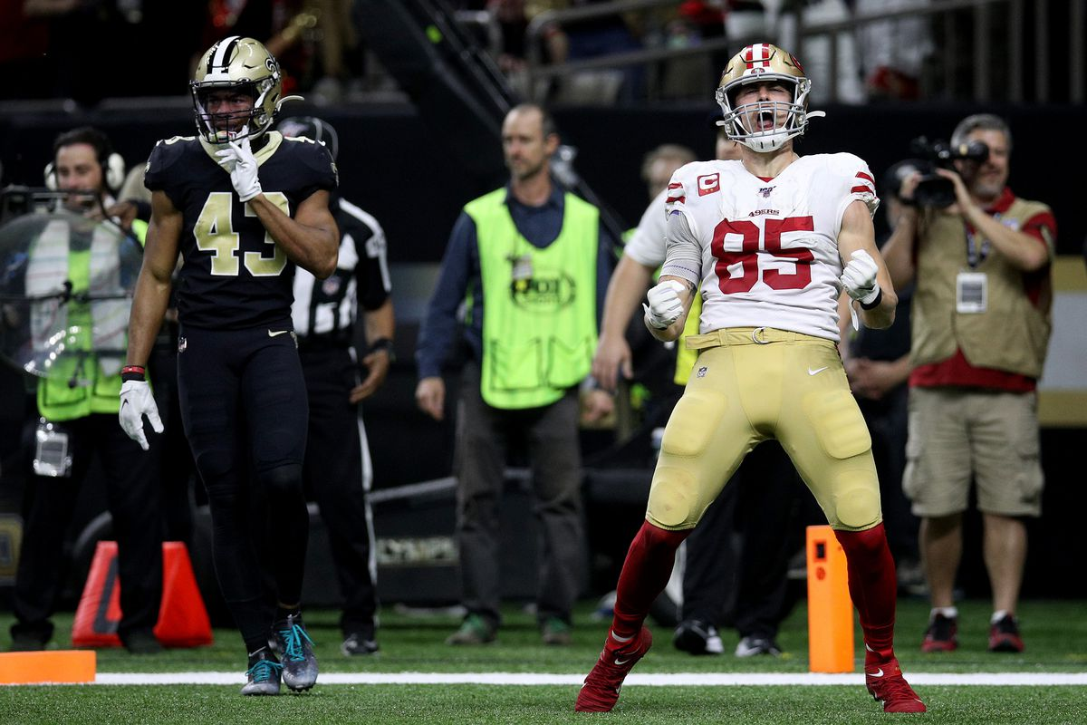 George Kittle of the San Francisco 49ers celebrates a touchdown against the New Orleans Saints during the third quarter in the game at Mercedes Benz Superdome on December 08, 2019 in New Orleans, Louisiana.