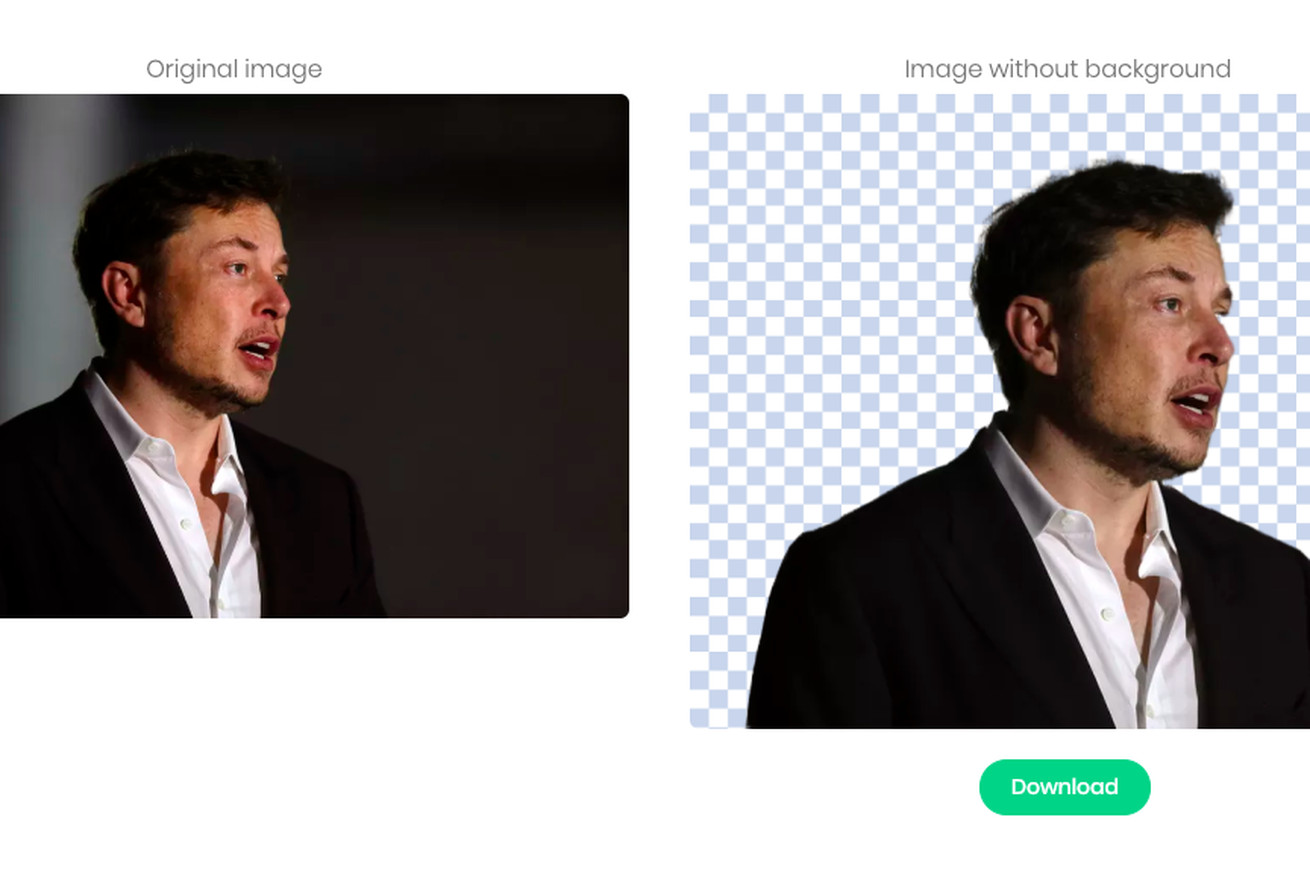 <em>Remove.bg is a quick way to edit out a picture's background. But it does make mistakes — just look at Elon Musk's missing chunk of eye in the image on the right. </em>