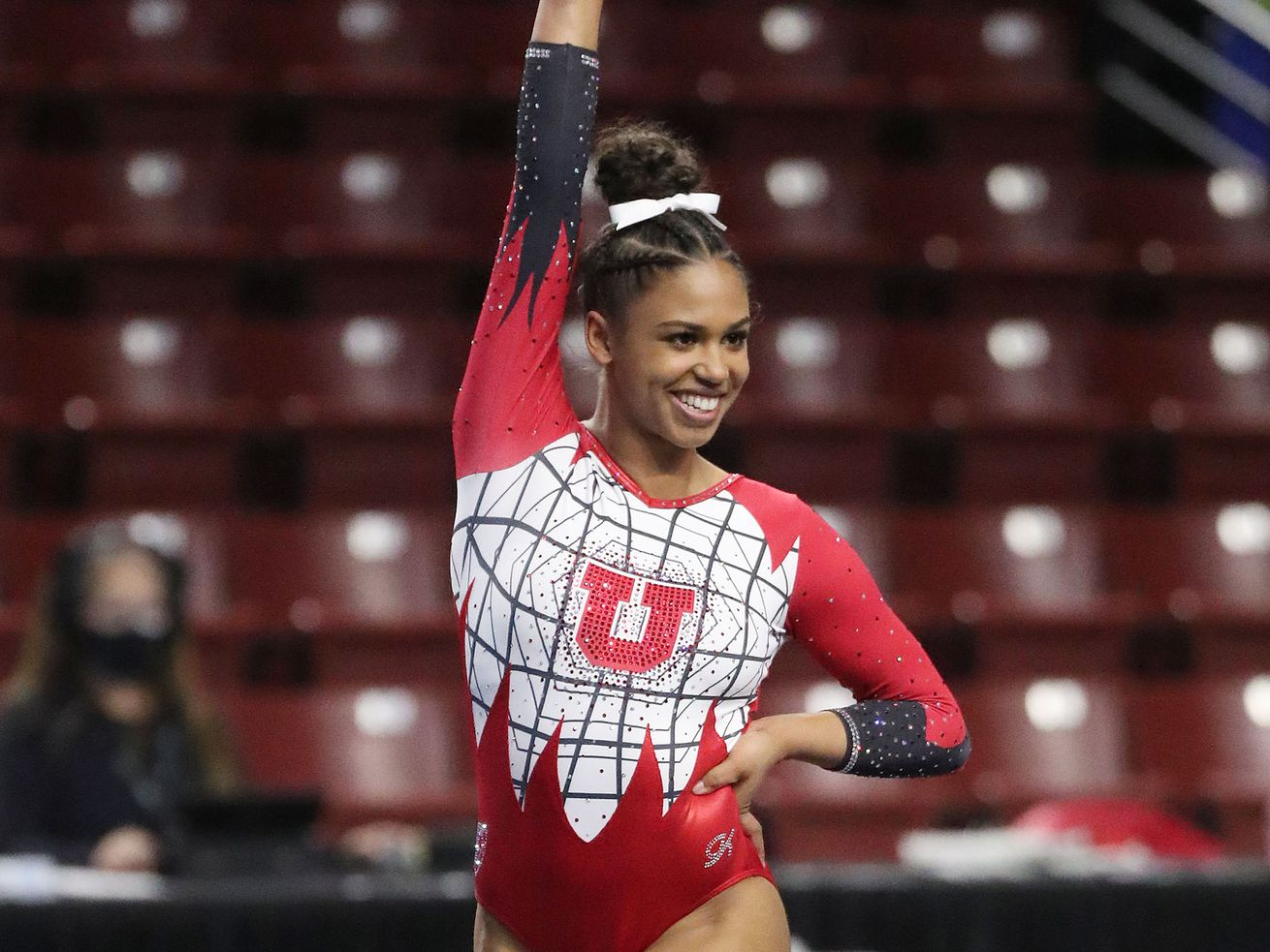 Utah's Jaedyn Rucker competes on the floor during the Pac-12 gymnastics championships in West Valley City on Saturday, March 20, 2021.
