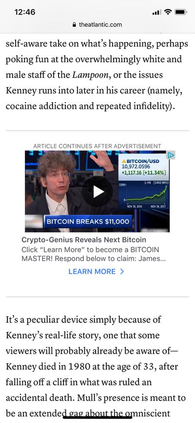 A James Altucher crypto ad about bitcoin, delivered by Facebook's Audience Network