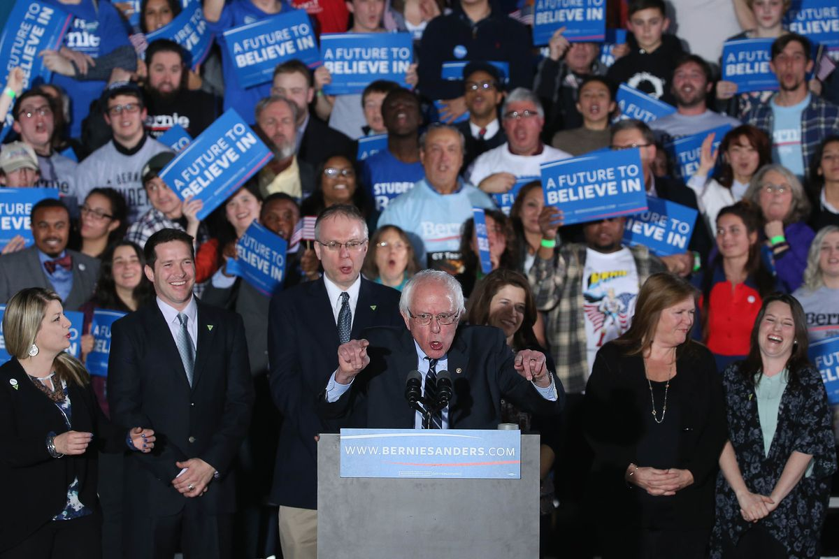 Democratic presidential candidate Bernie Sanders speaks to supporters after winning the New Hampshire Democratic Primary February 9, 2016, in Concord, New Hampshire.