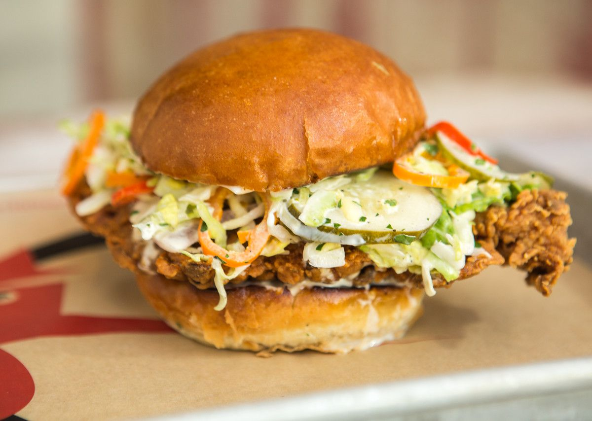 Fried chicken sandwich with slaw and pickles