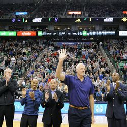 Mark Eaton along with the other members of the team's first franchise playoff team are honored between the first and second quarter during a game against the Orlando Magic at EnergySolutions Arena on Saturday, March 22, 2014.