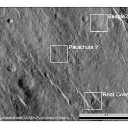 An annotated image from NASA's HiRise camera shows what is believed to be the remains of the Beagle 2 lander.