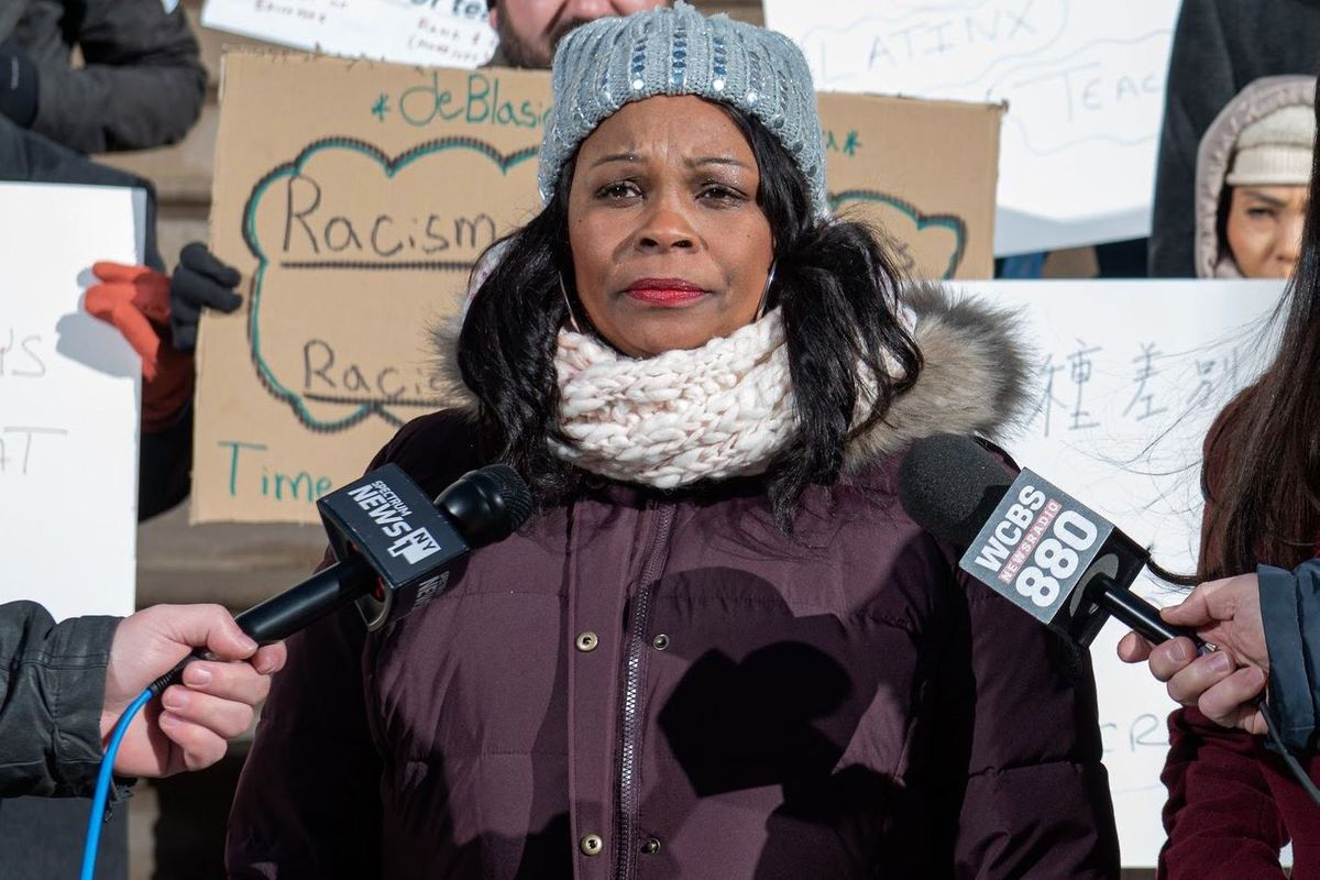 Former Pan American International High School teacher, Lisa-Erika James holds a press conference at City Hall about a lawsuit against the Department of Education, Jan. 20, 2020