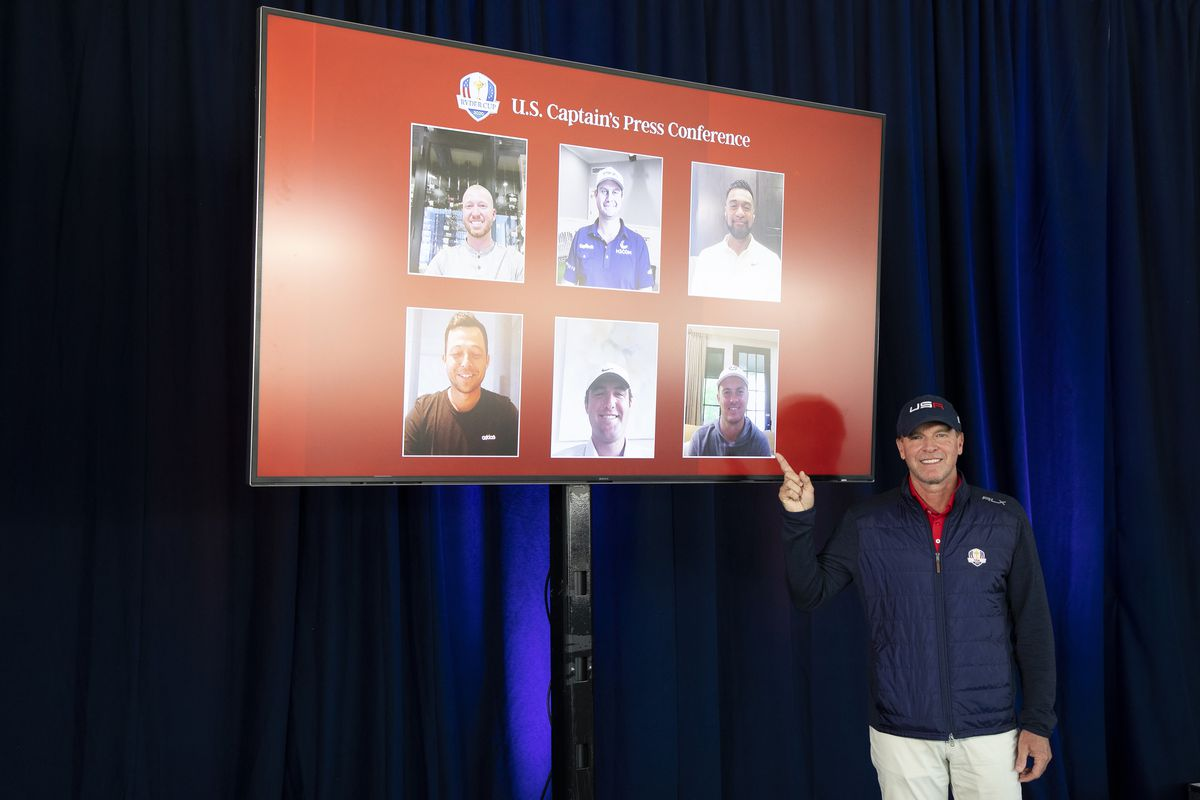 U.S. Ryder Cup captain Steve Stricker points to TV showing his captain's picks during the 43rd Ryder Cup Captain's Picks Press Conference at Whistling Straits on September 08, 2021 in Kohler, Wisconsin.