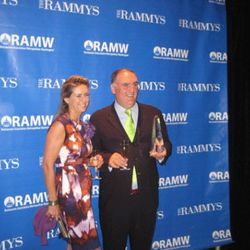 José Andrés with his wife, to whom he gave credit for 75 percent of the award.