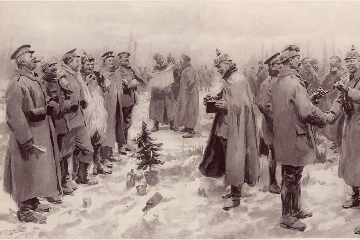 An illustration of the 1914 Christmas Truce that appeared in a British newspaper in January 1915.