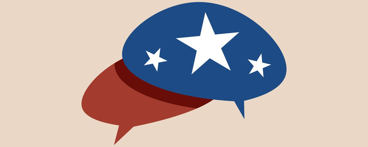 Illustration of two speech bubbles: one red and one blue with three white stars.