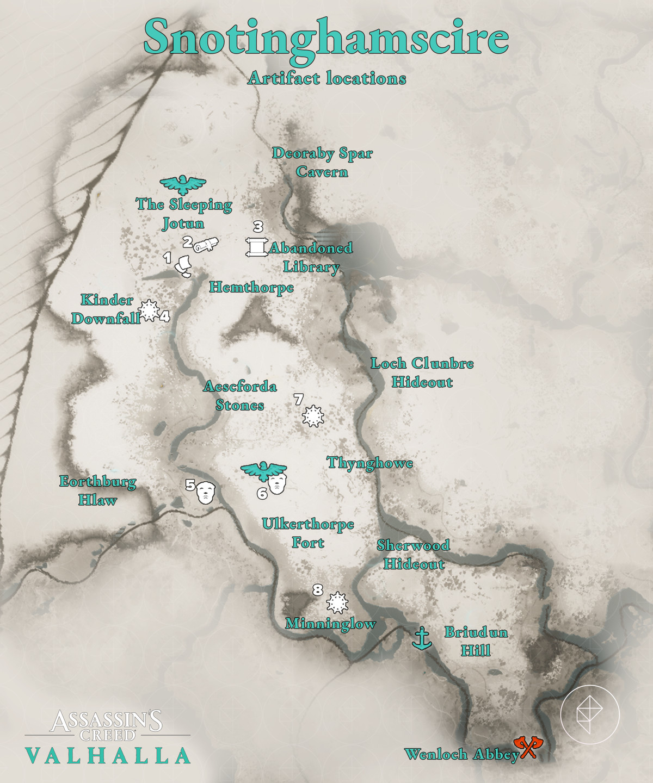 Snotinghamscire Artifacts locations map