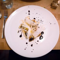 """White asparragus, endives, pickled mushrooms and black olives from Chez Jose's dinner at Whirlybird by <a href=""""http://www.flickr.com/photos/jmoranmoya/8665711000/in/pool-eater"""">jmoranmoya</a>"""
