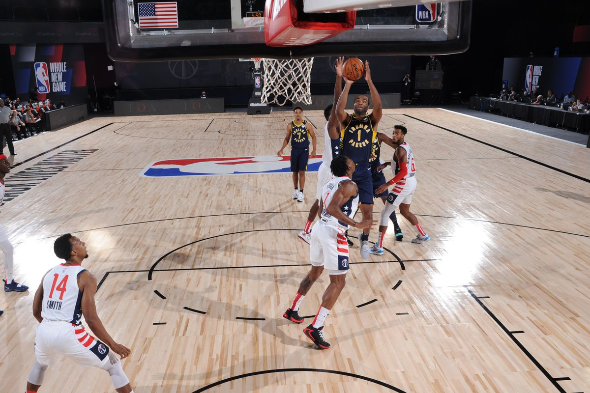 T.J. Warren of the Indiana Pacers shoots the ball against the Washington Wizards on August 3, 2020 at The Arena at ESPN Wide World of Sports in Orlando, Florida.