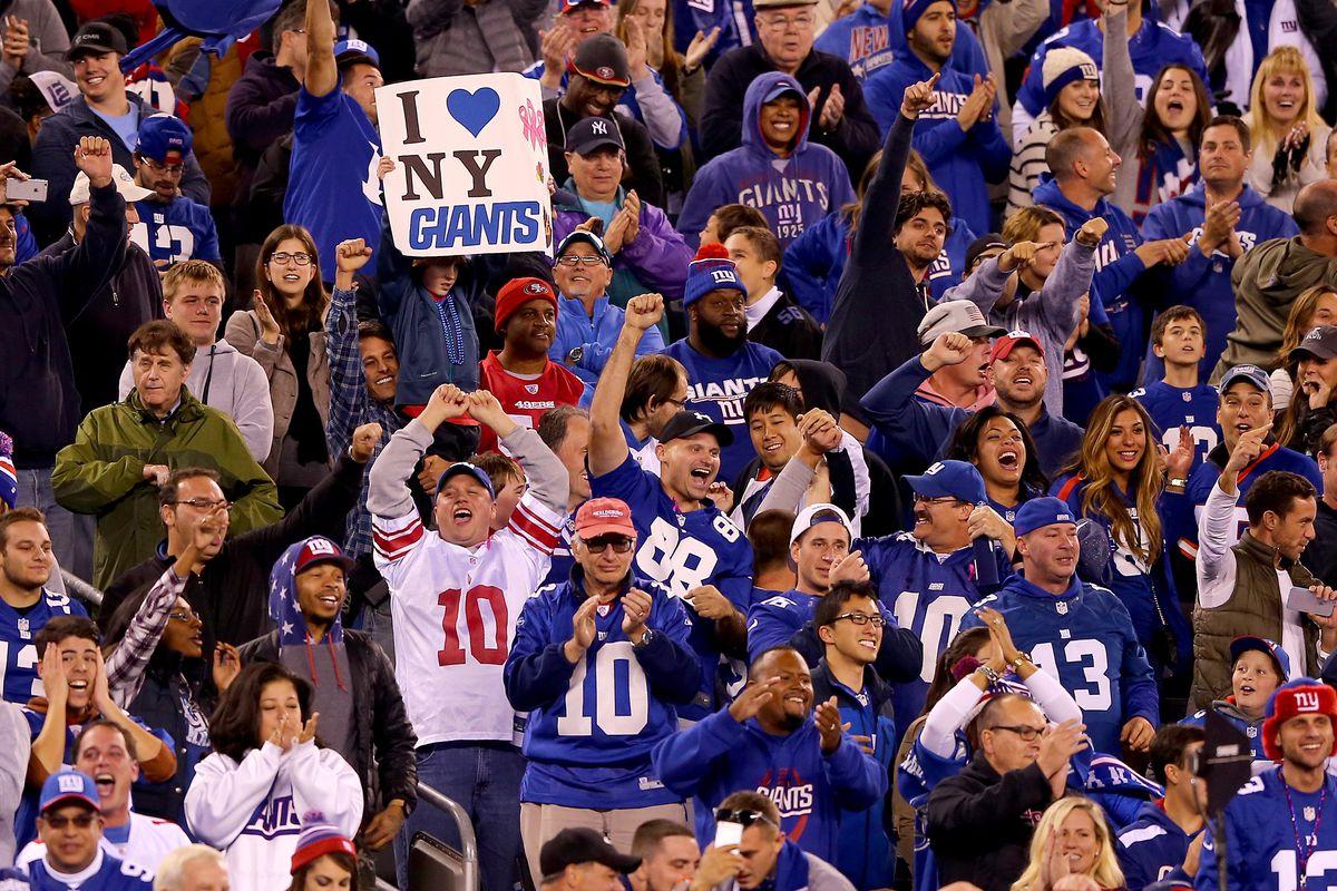 Giants fans celebrate a victory