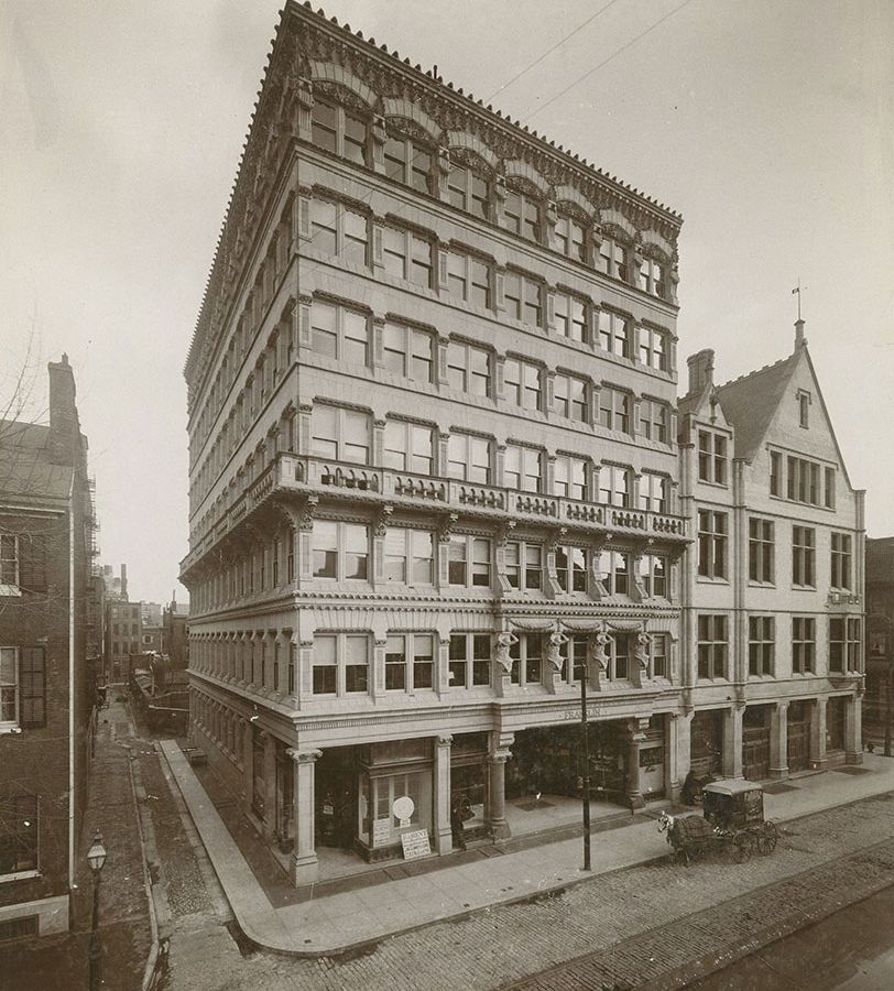 The exterior of the Franklin Building in Philadelphia. This is an old photograph.