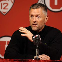 Utes Head Coach Kyle Whittingham speaks to the media in the Spence & Cleone Eccles Football Center on Tuesday, January 7, 2014.