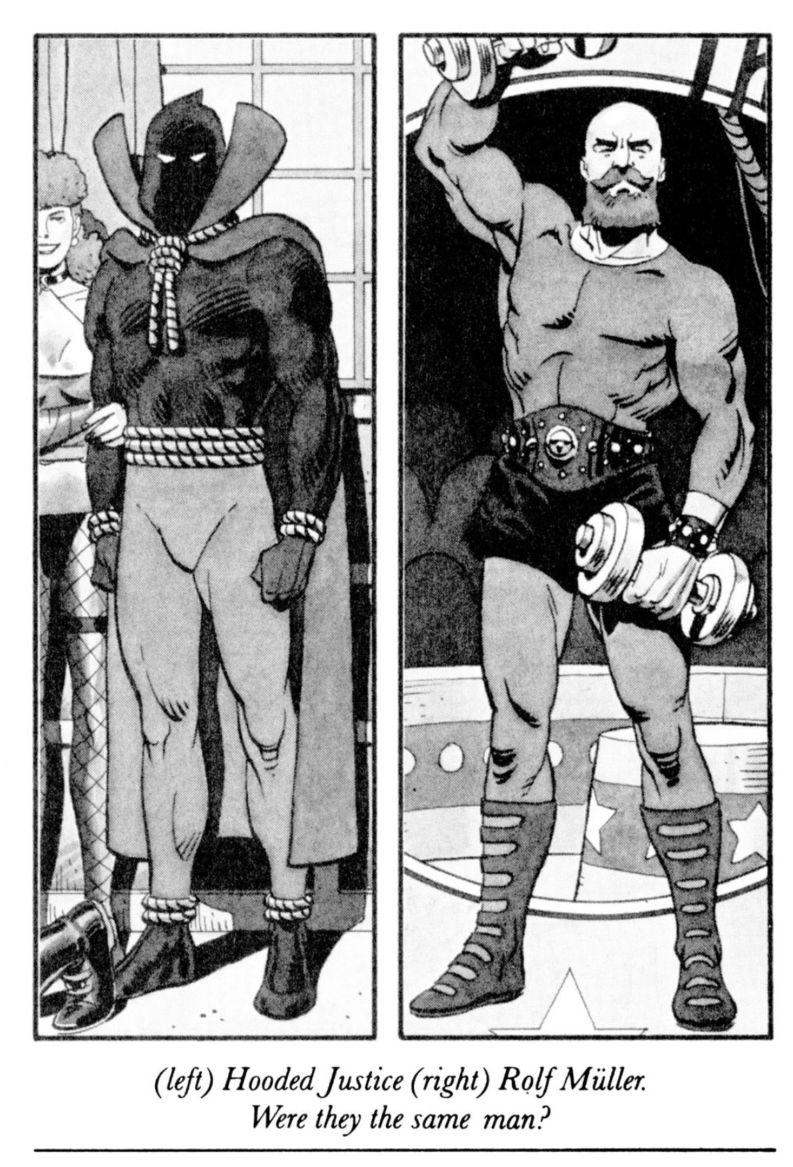 Left: Hooded Justice, right, Rolf Müller, two men that Hollis Mason/Nite Owl theorized might have been the same person, in Watchmen, DC Comics (1986).
