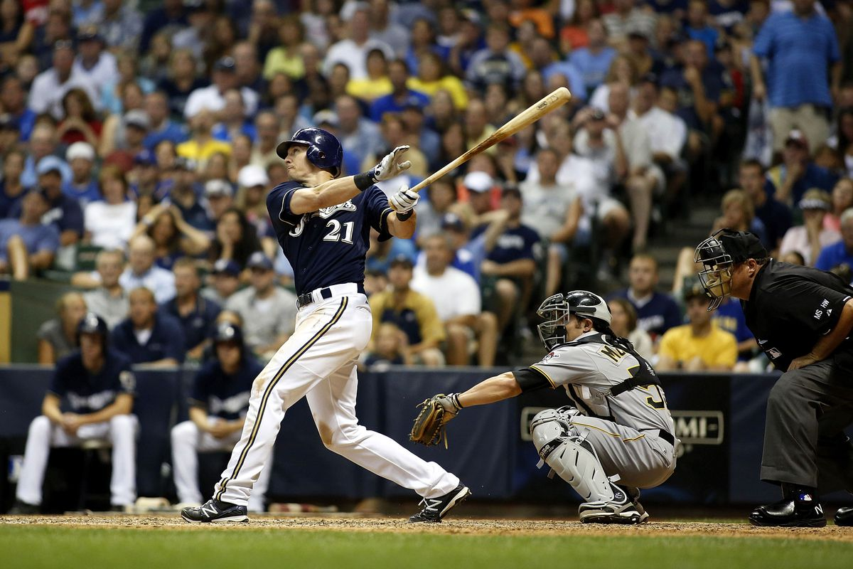 MILWAUKEE, WI - JULY 13:  Cody Ransom #21 of the Milwaukee Brewers hits a grand slam in the eighth inning against the Pittsburgh Pirates at Miller Park on July 13, 2012 in Milwaukee, Wisconsin. (Photo by Mark Hirsch/Getty Images)