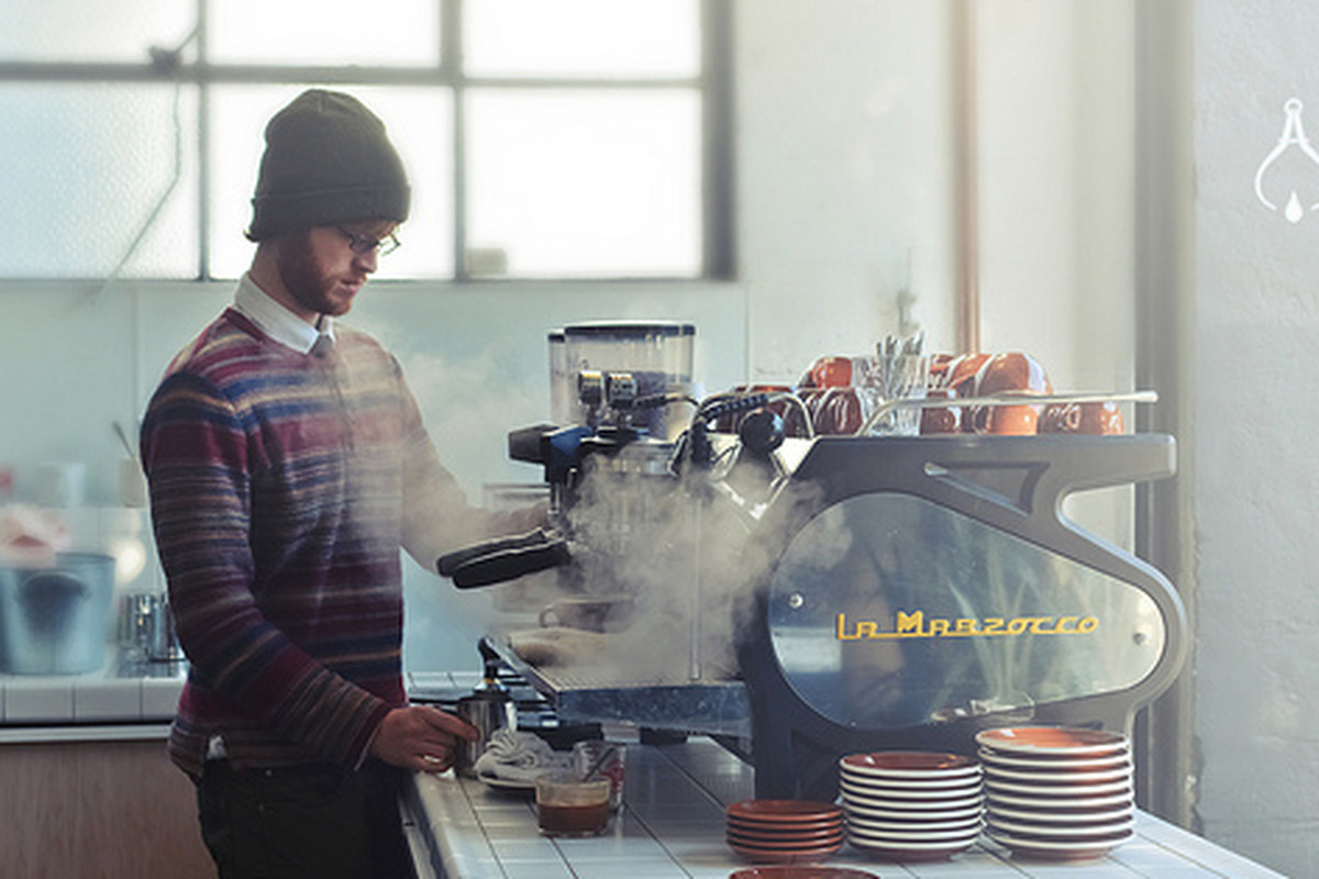 A barista at Front Cafe.
