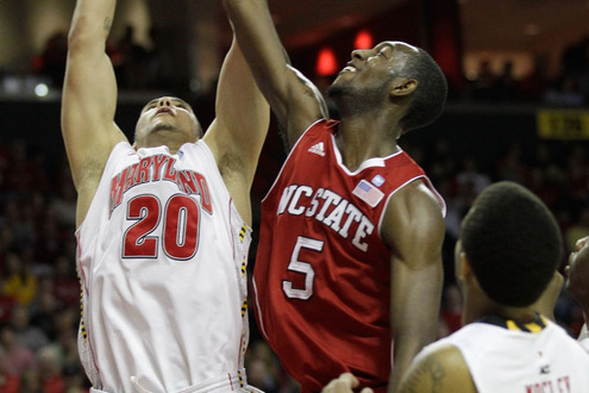 COLLEGE PARK MD - FEBRUARY 20: Jordan Williams #20 of the  Maryland Terrapians goes up for a rebound against C.J. Leslie #5 of the NC State Wolfpack at the Comcast Center on February 20 2011 in College Park Maryland.  (Photo by Rob Carr/Getty Images)
