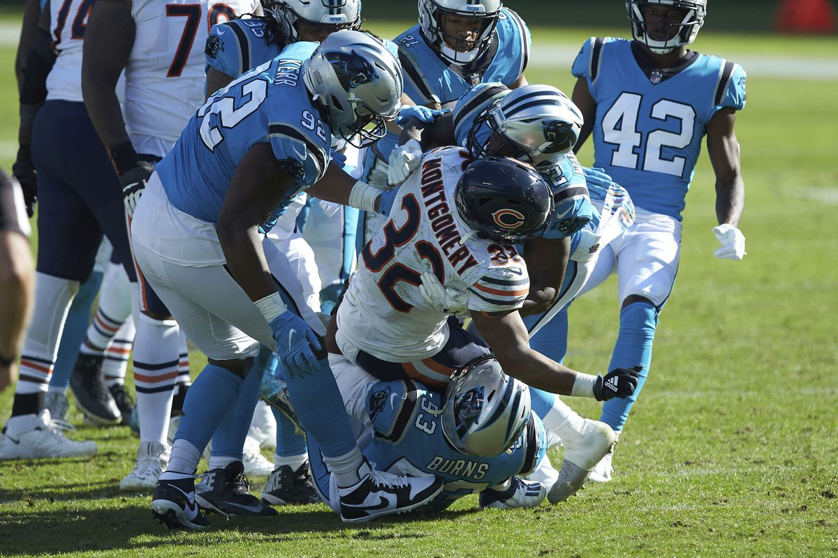 David Montgomery was 25th in the NFL in rushing going into Sunday. His 58 yards on 19 carries against the Panthers won't help that.