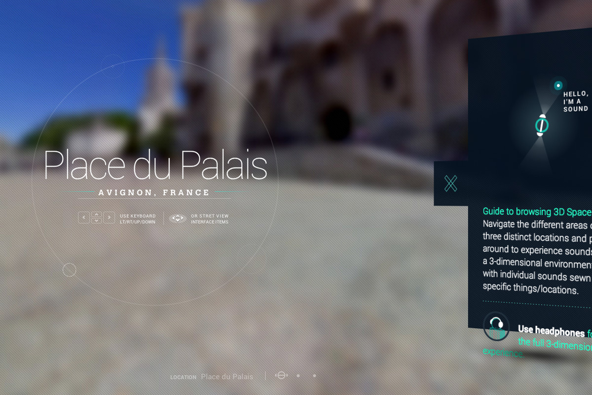 Screenshot of 'Sounds of Street View' by Amplifon, a browser app that adds ambient noise to Google Street View