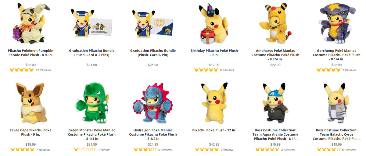 A storefront page filled with many different Pikachu plush wearing different costumes and outfits
