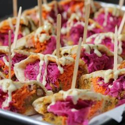 Kama Food Lab's colorful pita sandwiches.