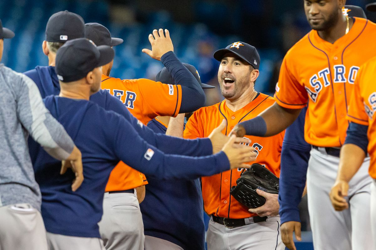 Houston Astros starting pitcher Justin Verlander celebrates after throwing a no hitter against the Toronto Blue Jays at Rogers Centre in Toronto, Canada.