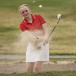 Rheagen Hartfiel, Bear River, hits out of the sand during the Utah Section PGA Spring Individual Championship in Rose Park Golf Course in Rose Park on Thursday, June 4, 2020.