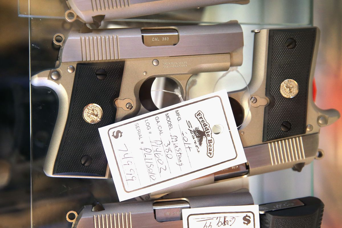 Handguns are offered for sale at a store in south suburban Tinley Park.