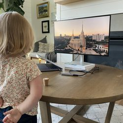 Annie Beard gets ready to watch the morning session of the 191st Annual General Conference of The Church of Jesus Christ of Latter-day Saints on Saturday, April 3, 2021.