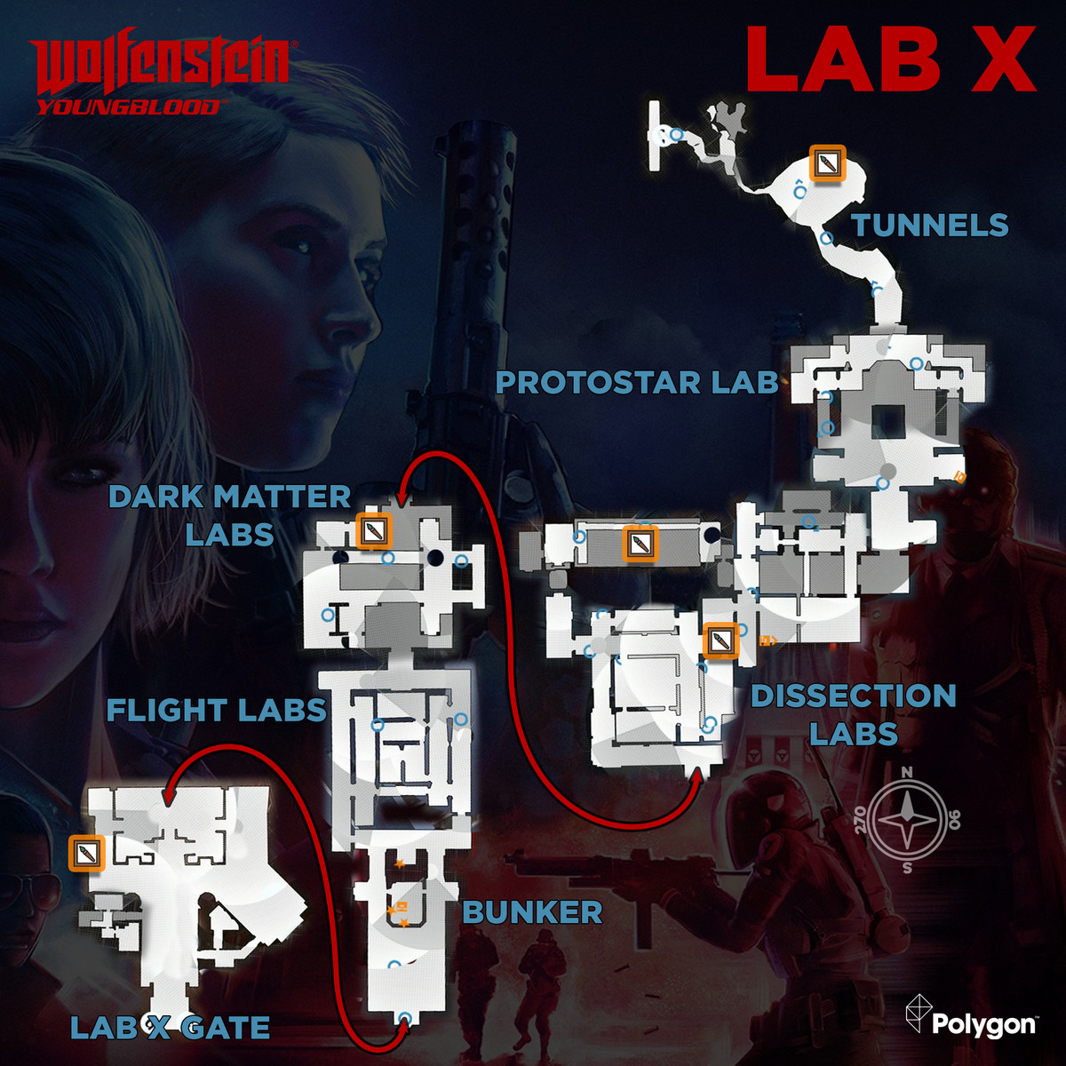 Wolfenstein: Youngblood Lab X map with Concept Package collectible locations