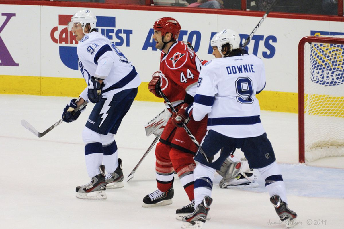 """Jay Harrison and his rookie D-partner Justin Faulk will try to shut down the high-flying Steven Stamkos tonight. Photo from the Canes win on Nov 1, 2011 via <a href=""""http://farm7.staticflickr.com/6114/6316605209_9bb25a491b_b.jpg"""">Jamie Kellner</a>"""