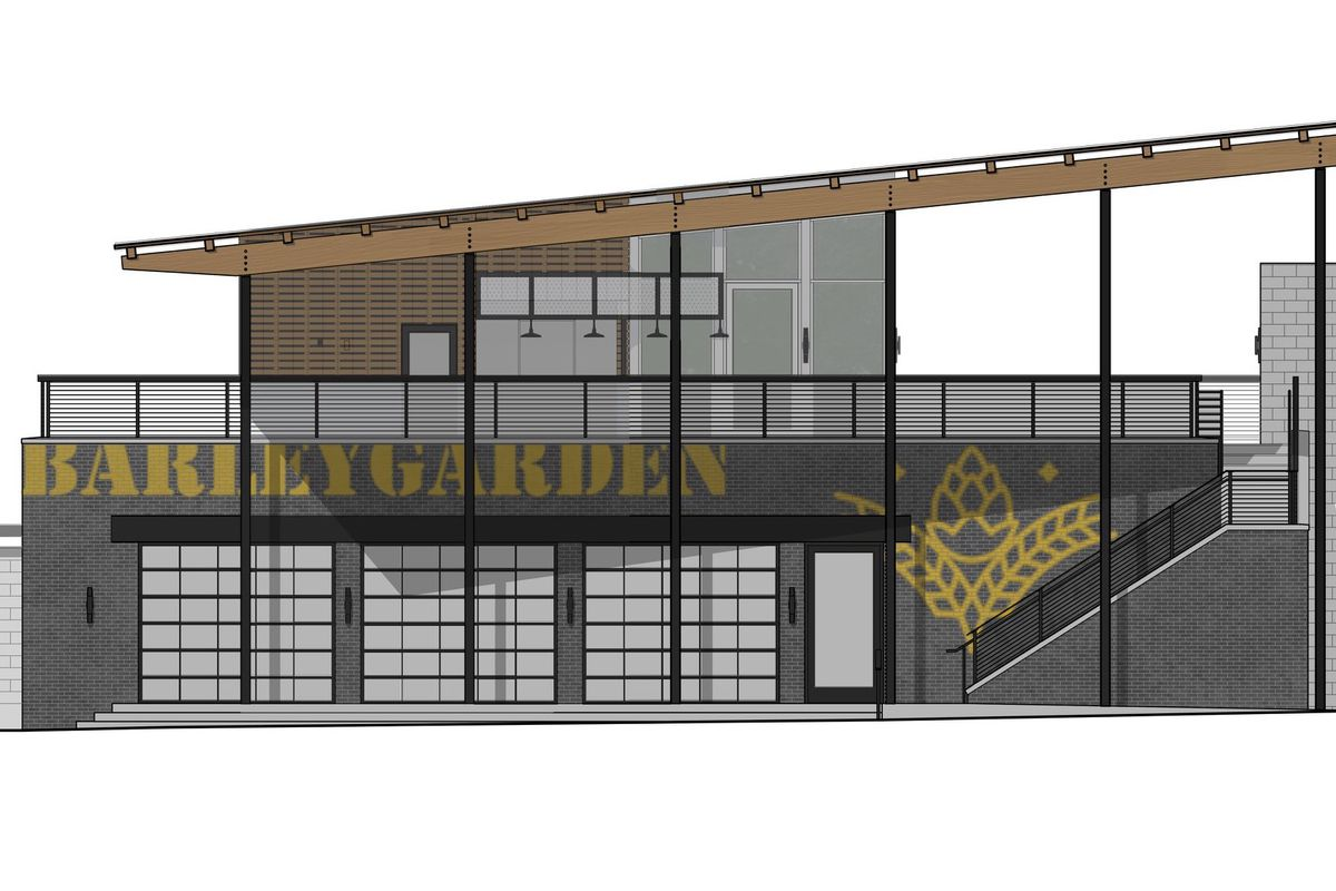 A rendering of a modern looking building made with bricks and a cantilevered roof.
