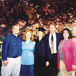 Mykal Gough, Erin Dull Gough, Rachel Dull, Jackie & Bob Dull celebrating Rachel?s graduation.