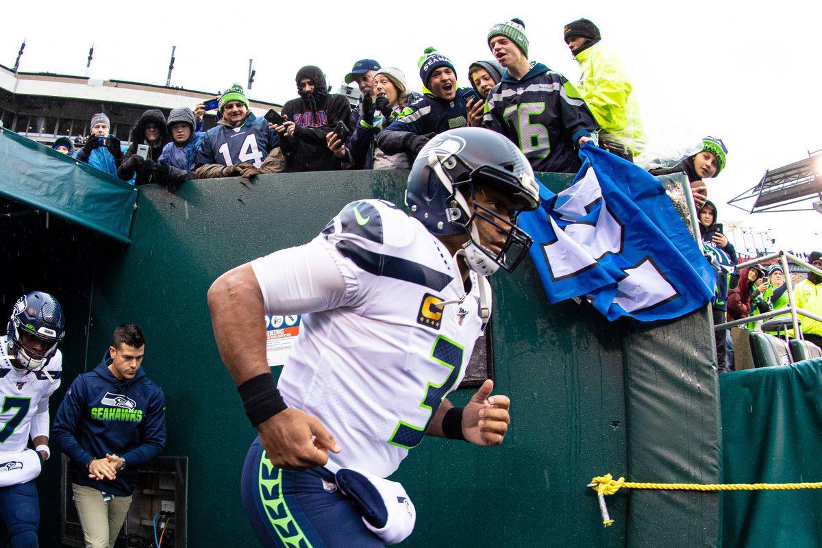 Seattle Seahawks quarterback Russell Wilson takes the field before playing against the Philadelphia Eagles at Lincoln Financial Field.