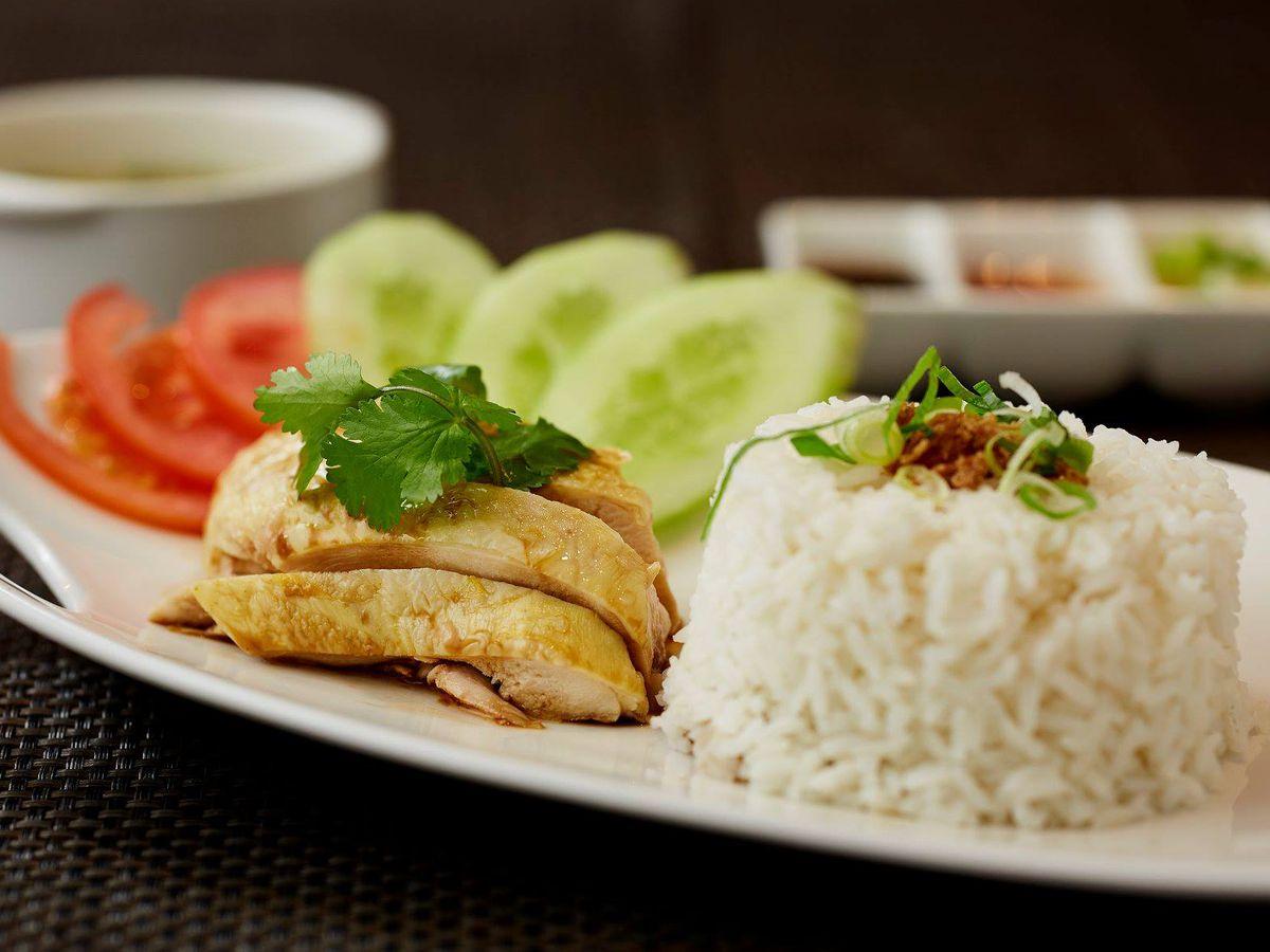 Hainanese chicken rice at Bugis Street Brasserie in central London