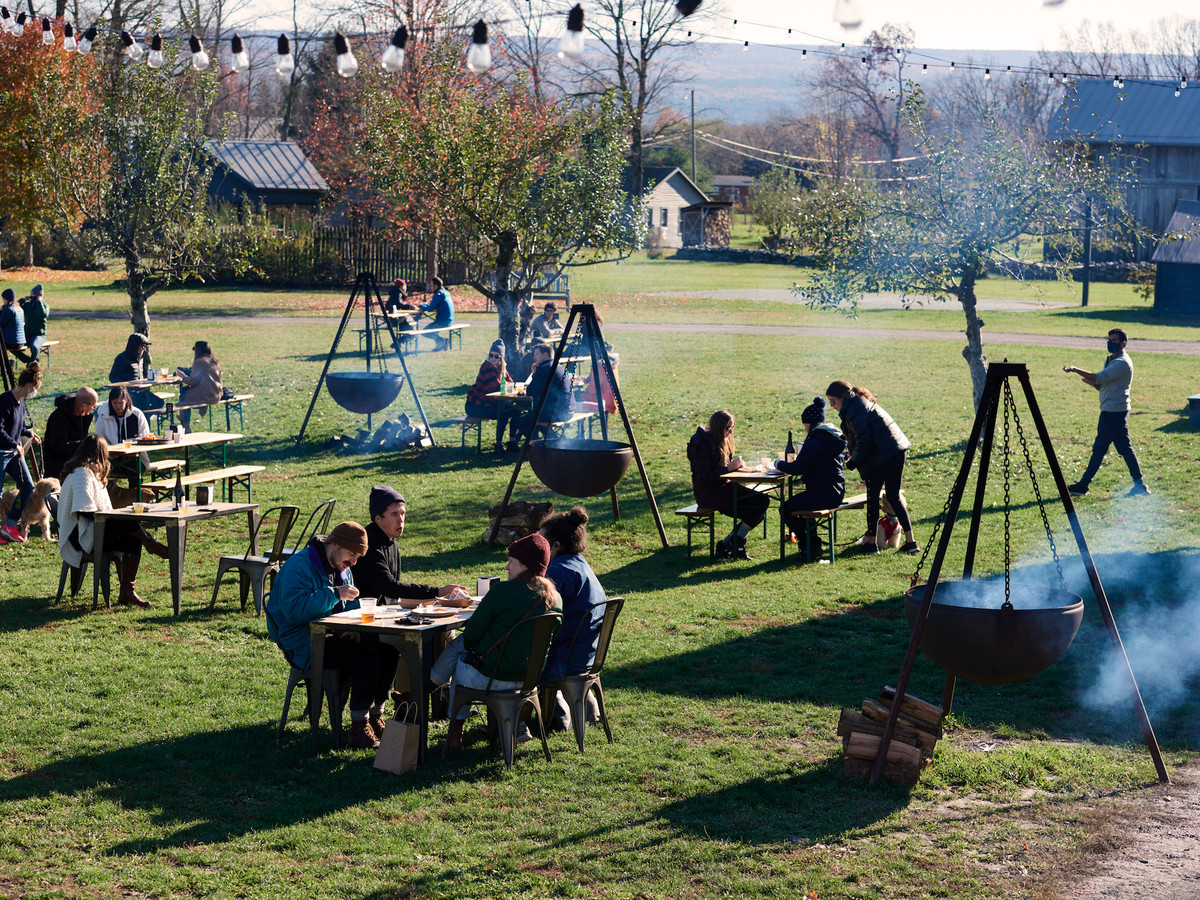 Dining outdoors at an orchard