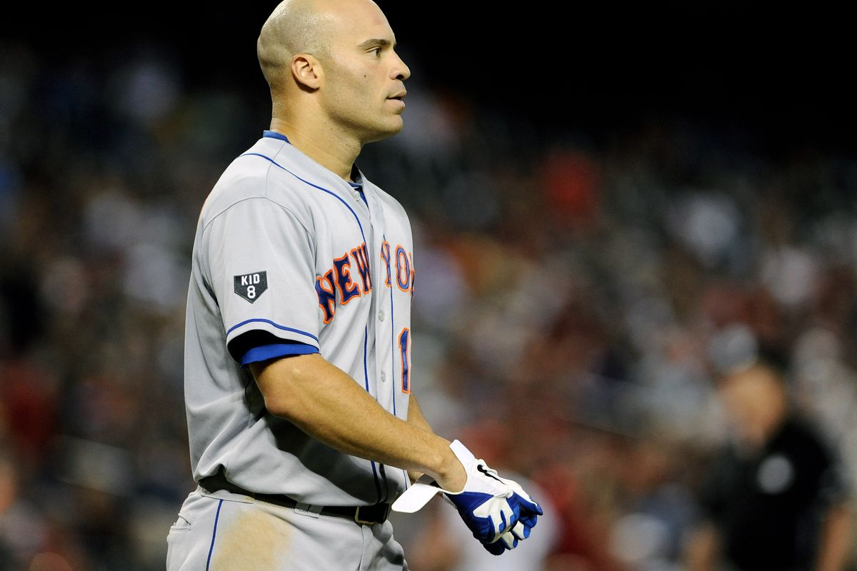 Jul. 26, 2012; Phoenix, AZ, USA; New York Mets outfielder Scott Hairston (12) reacts on the field during the game against the Arizona Diamondbacks in the fifth inning at Chase Field.  Mandatory Credit: Jennifer Stewart-US PRESSWIRE