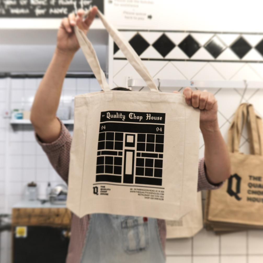 London's best restaurant merch includes this Quality Chop House tote bag
