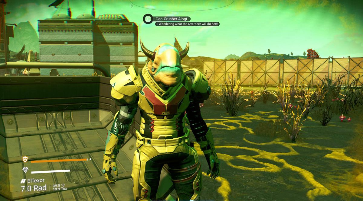 No Man's Sky - a Vy'Keen alien stands in a town. His status is set as 'Wondering what the Overseer is going to do next'