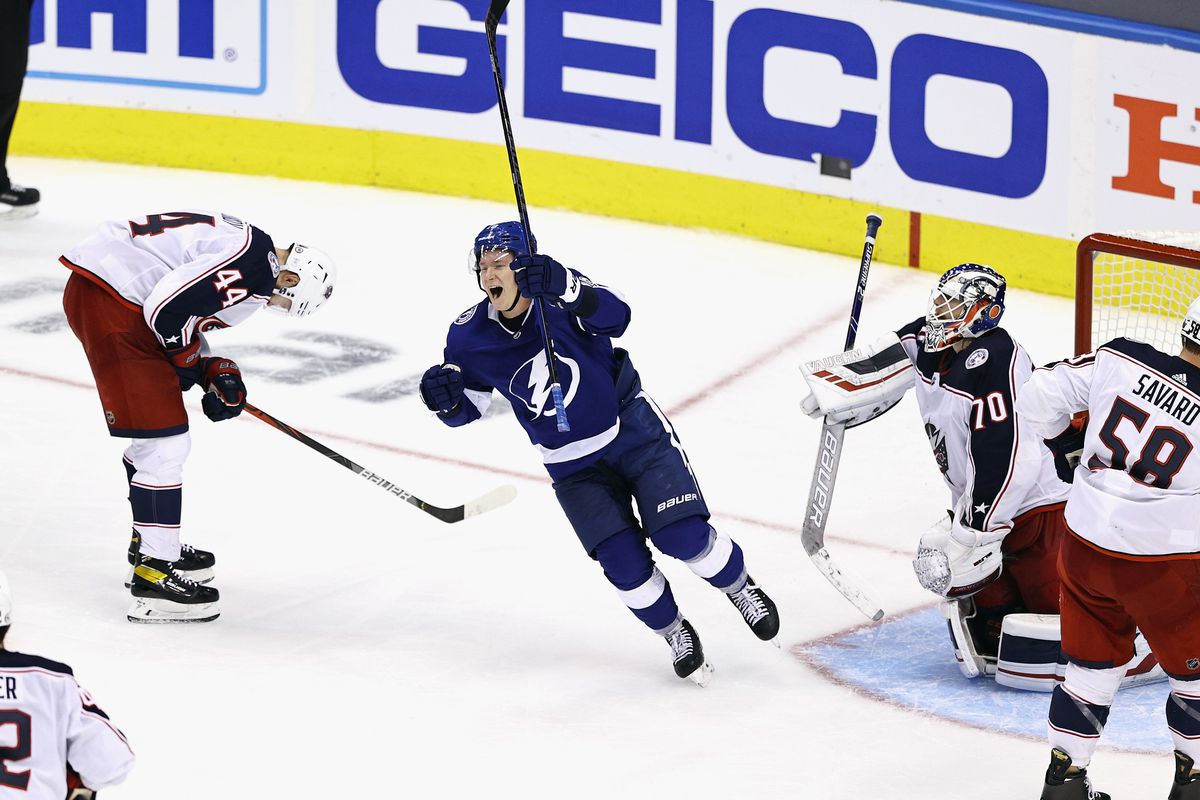 Ondrej Palat celebrates the game winning goal by Brayden Point and the Tampa Bay Lightning against the Columbus Blue Jackets at 10:27 of the fifth overtime period in Game One of the Eastern Conference First Round during the 2020 NHL Stanley Cup Playoffs at Scotiabank Arena on August 11, 2020 in Toronto, Ontario, Canada.