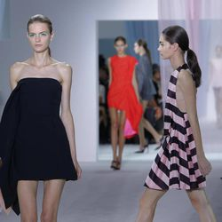 Models wear creations from Belgian fashion designer Raf Simmons for Dior ready to wear Spring-Summer 2013 collection, presented in Paris, Friday, Sept. 28, 2012.